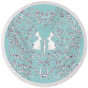 Round Beach Towel featuring the drawing Green Blue Rabbits Leaves by Donna Huntriss