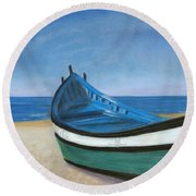 Green Boat Blue Skies Round Beach Towel