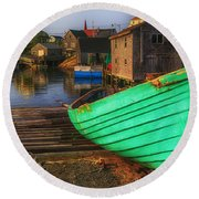 Green Boat Peggys Cove Round Beach Towel