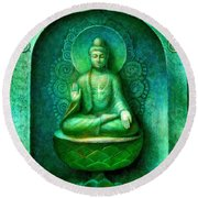 Green Buddha Round Beach Towel