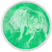 Green Bull Negative Round Beach Towel