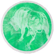 Green Bull Negative Round Beach Towel