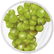 Green Bunch Of Grapes Round Beach Towel