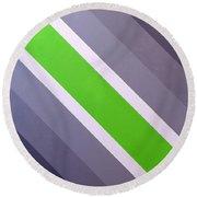 Green Chevron Round Beach Towel by Thomas Gronowski