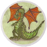 Green Dragon Round Beach Towel