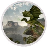 Green Dragon Round Beach Towel by Daniel Eskridge