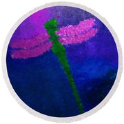 Round Beach Towel featuring the painting Green Dragonfly by Anita Lewis