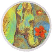 Green Elephant Round Beach Towel