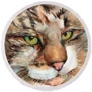 Green Eyes Round Beach Towel by Maria's Watercolor