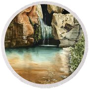 Green Falls II Round Beach Towel