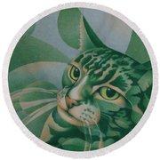 Green Feline Geometry Round Beach Towel
