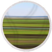 Green Field Abstract Round Beach Towel