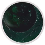 Green Galaxies Round Beach Towel