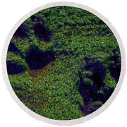 Green Glow Paw Prints Round Beach Towel
