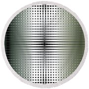 Round Beach Towel featuring the digital art Green/gold Grid by Kevin McLaughlin