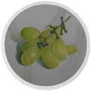 Green Grapes Round Beach Towel by Pamela Clements