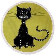 Green Grunge Evil Black Cat Round Beach Towel