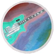 Round Beach Towel featuring the painting Green Guitar by Magdalena Frohnsdorff