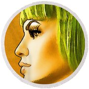 Green Hair Round Beach Towel