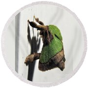 Green Hair Moth Round Beach Towel