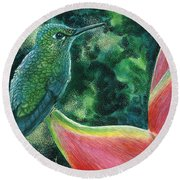 Green Hummingbird Round Beach Towel