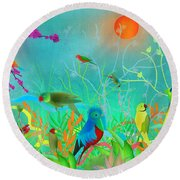 Green Landscape With Parrots - Limited Edition Of 15 Round Beach Towel by Gabriela Delgado