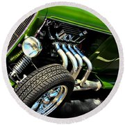 Classic Cars Round Beach Towel featuring the photograph Green Machine  by Aaron Berg
