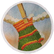 Green Mittens Round Beach Towel by Mary Ellen Mueller Legault