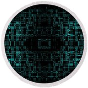 Round Beach Towel featuring the digital art Green Network by Anita Lewis