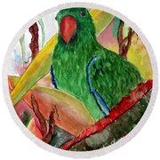 Green Parrot Round Beach Towel by Lil Taylor