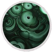 Green Patterns Of Malachite Round Beach Towel