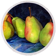 Green Pears Round Beach Towel