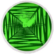 Green Perspective Round Beach Towel by Clare Bevan