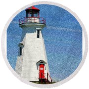 Green Point Light - Color Sketch Round Beach Towel