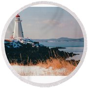 Green Point Light In Winter Round Beach Towel