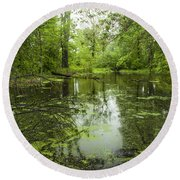 Green Blossoms On Pond Round Beach Towel