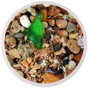 Green Sea Glass Round Beach Towel
