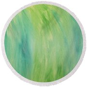 Green Shades Round Beach Towel by Barbara Yearty
