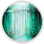 Green Skeleton Gate Round Beach Towel by Heather Calderon
