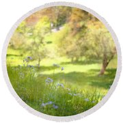 Round Beach Towel featuring the photograph Green Spring Meadow With Flowers by Brooke T Ryan
