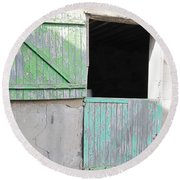 Round Beach Towel featuring the photograph Green Stable Door by HEVi FineArt