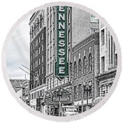 Green Tennessee Theatre Marquee Round Beach Towel