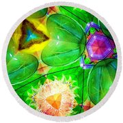 Green Thing 2 Abstract Round Beach Towel