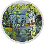 Green Township Mill House Round Beach Towel