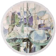 Green Transparency Transparence Verte 1981 Oil On Canvas Round Beach Towel