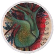 Green Tree Of Life Round Beach Towel