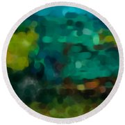 Green Truck In Abstract Round Beach Towel