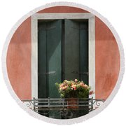 Green Venetian Window On Peach Round Beach Towel