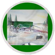 Green Wagon Round Beach Towel