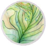 Green Watercolor Bubbles Round Beach Towel